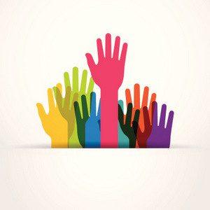 colored raised hands presentation
